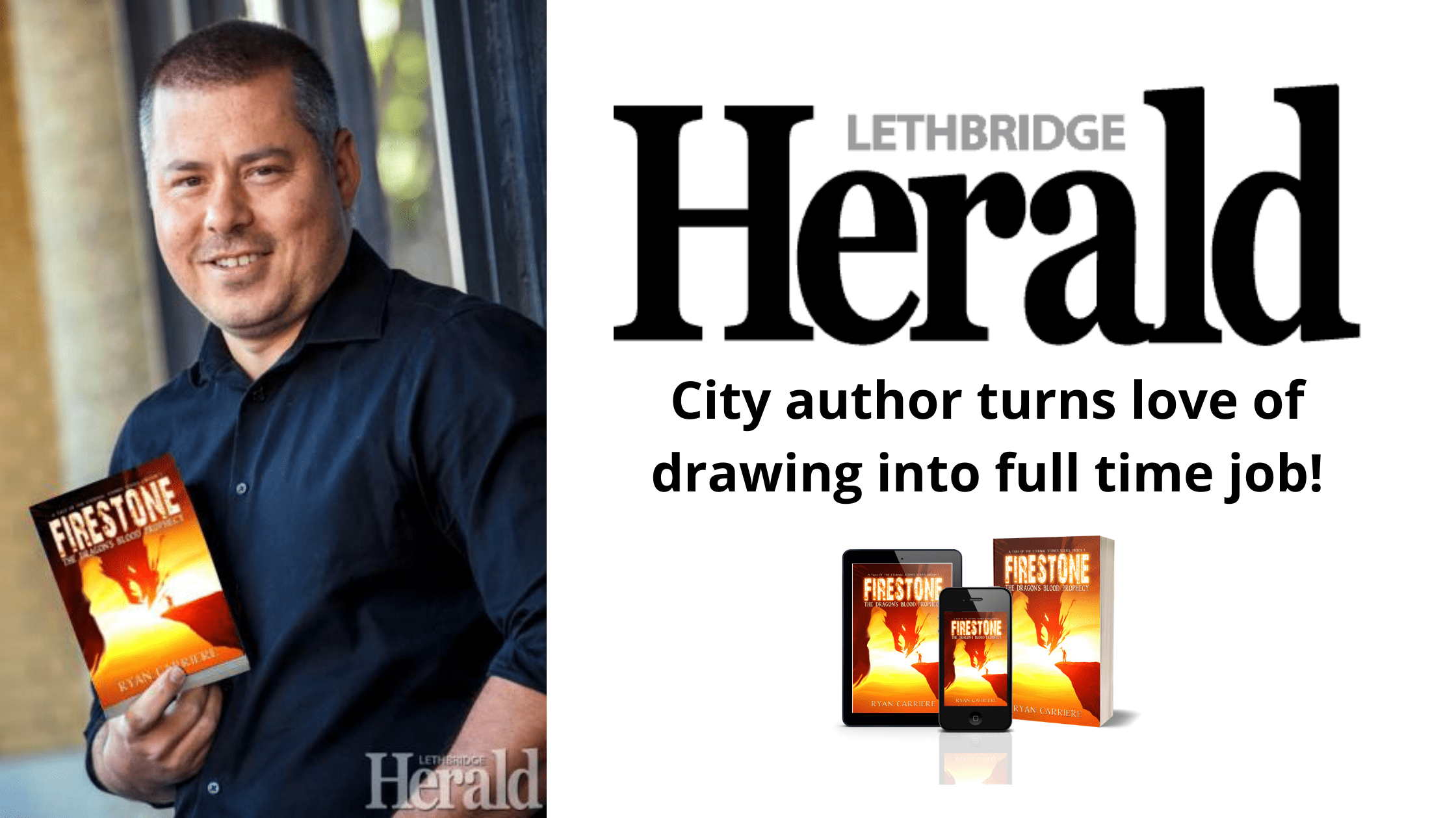 City author,love of drawing,drawing, Lethbridge Herald Interview, RYAN CARRIERE